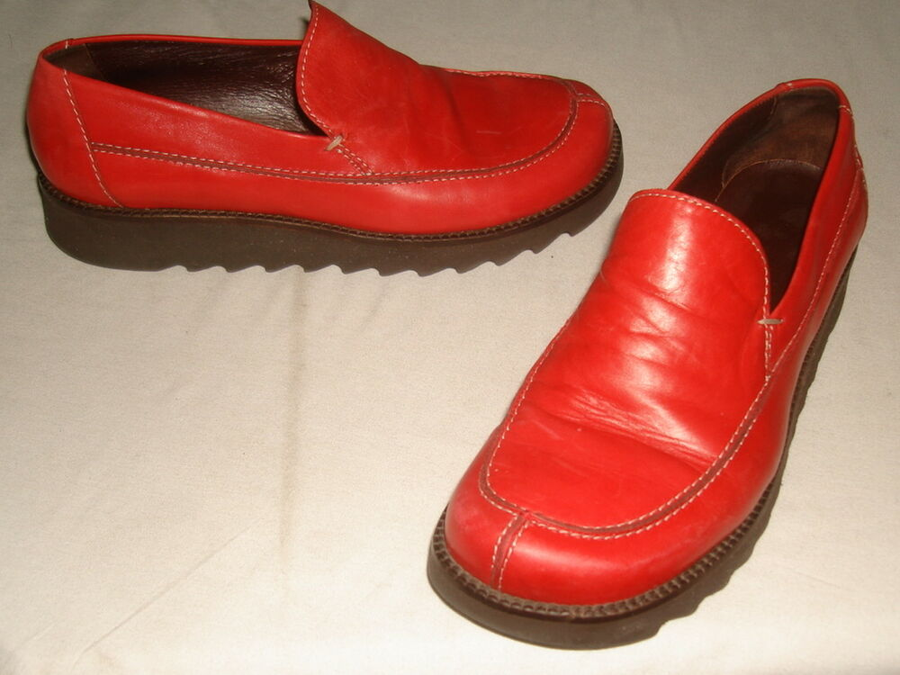 26567d1c85e Details about Donald J Pliner URBA Red Leather Wedge Heel Loafer Shoes Sz  7M EUC