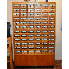 Antique Library Card Catalog Cabinet 72 Drawer solid maple and brass