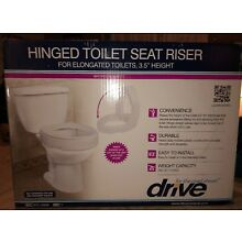 "Hinge Toilet Seat Riser White For Elongated Toilets 3.5"" Height"