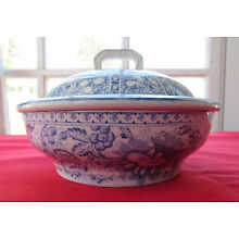 Antique J F Wileman Foley Potteries Staffordshire Blue French Soap Dish w Cover