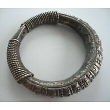 Old Coiled Coin Silver Hilltribe / Tribal Bracelet Laos SE Asia
