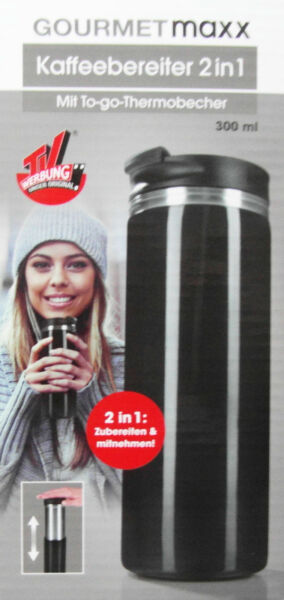Gourmetmaxx Kaffeebereiter 2 in 1 Mit To go Thermobecher 300ml Neu