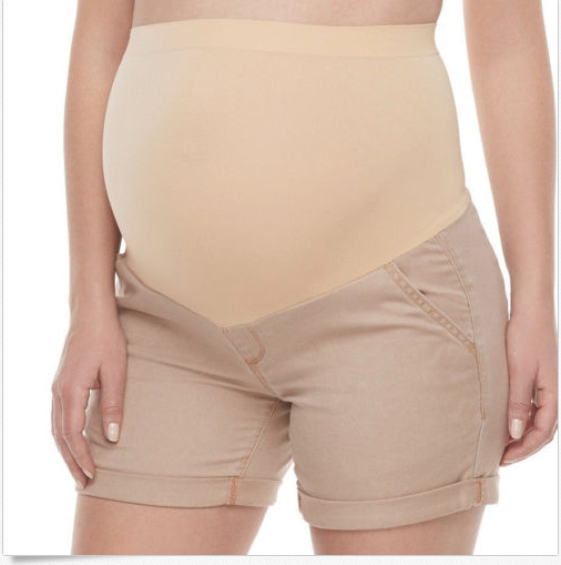 68ccd3cba92e0 Details about A Glow Women's Maternity Full Panel Cuffed Casual Short Shorts  in 3 Colors $40