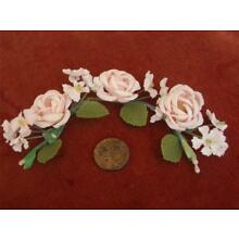 PETITE Antique Vtg MILLINERY PINK ROSES FLORAL GARLAND TRIM TIARA HEADPIECE DOLL