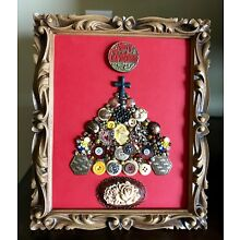 Vintage Jewelry Framed Merry Christmas Tree 8 x 10