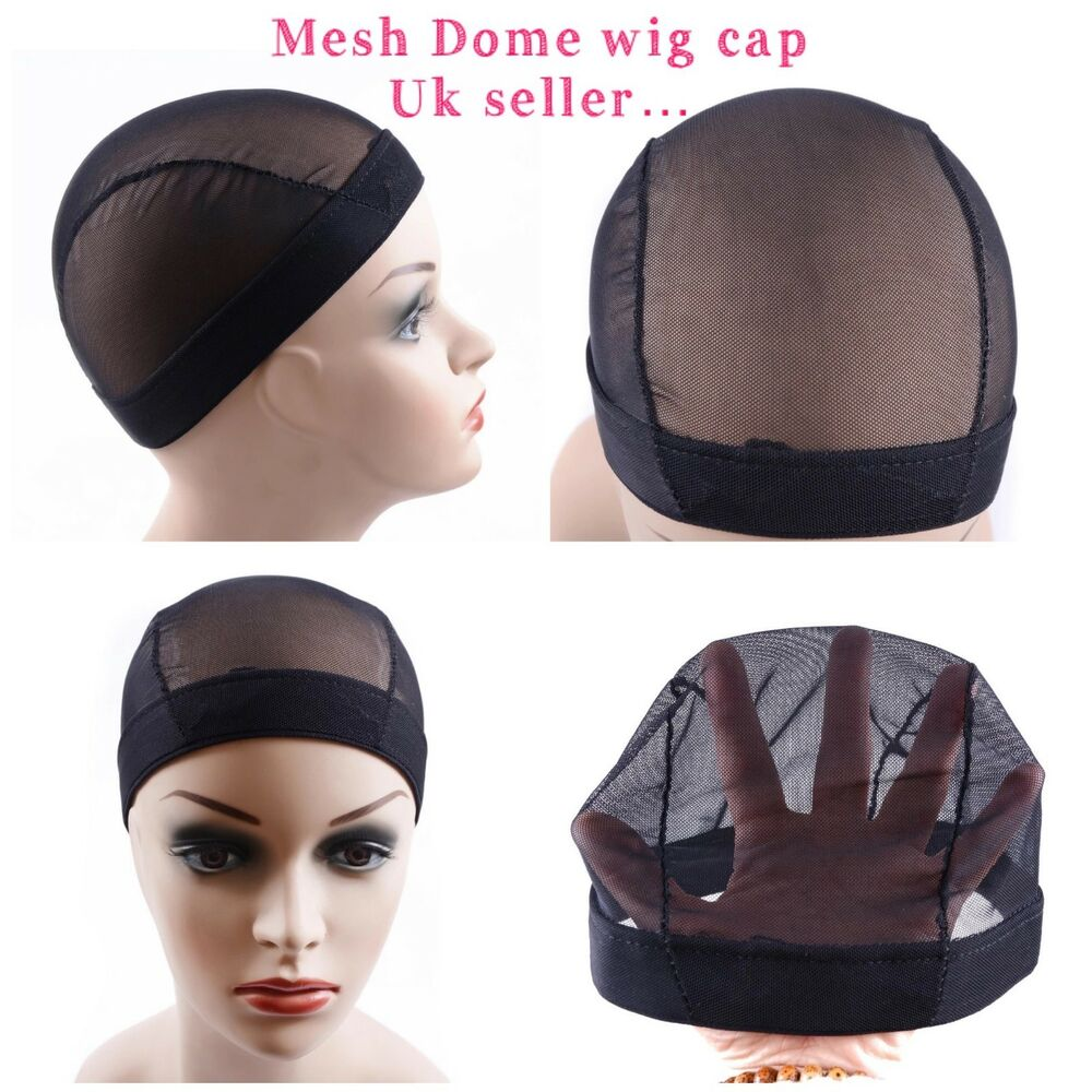 Details about Full wig cap black mesh net dome cap for wig making with weave afb2801ab