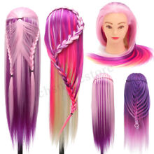 27''Colorful Practice Training Head Long Hair Mannequin Hairdressing Salon Model