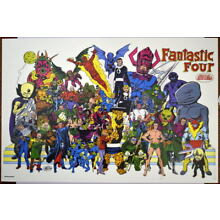 FANTASTIC FOUR w VILLAINS COLLAGE Print / Poster Marvel John Byrne art