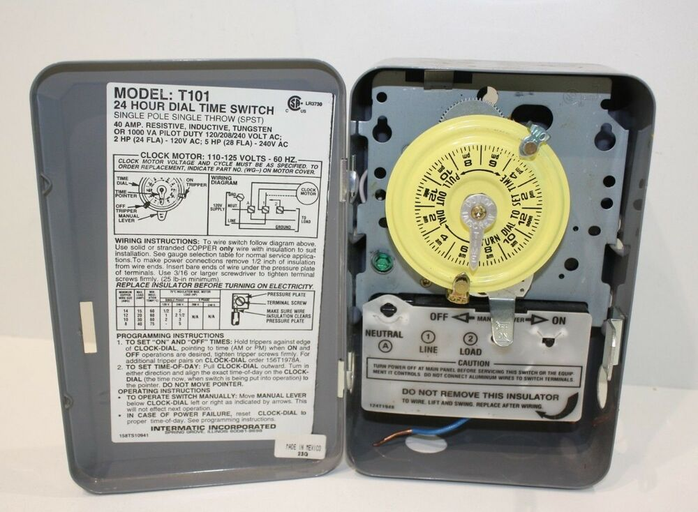 intermatic t101 40amps 120-volt 24 hour mechanical time switch with outdoor  case 50078275000013 | ebay