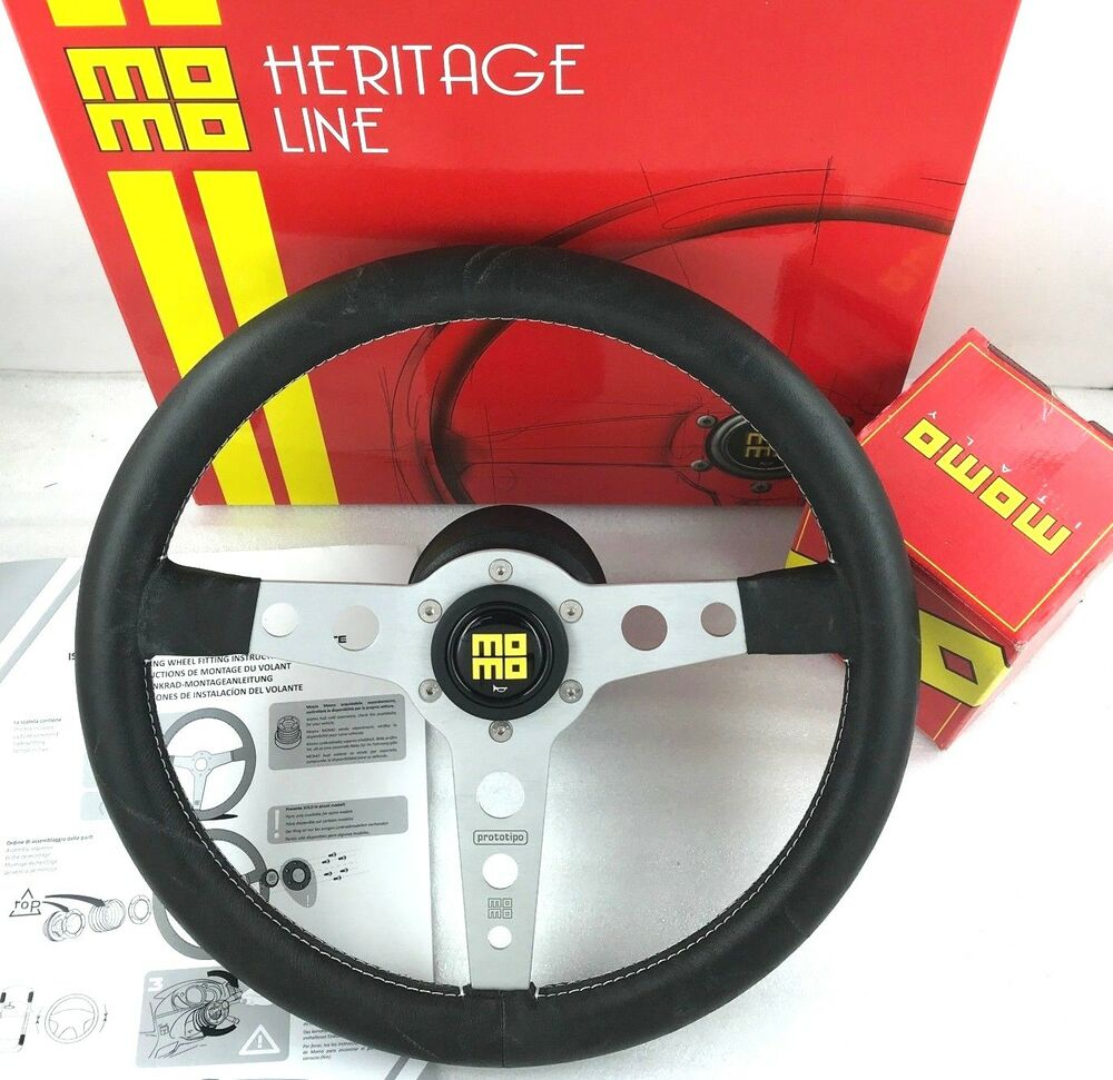 genuine momo prototipo heritage steering wheel and boss. Black Bedroom Furniture Sets. Home Design Ideas