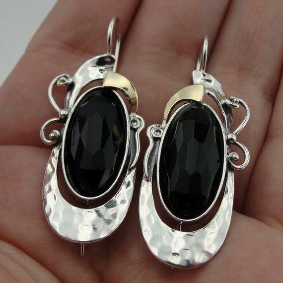 Details About Hadar Designers 9k Yellow Gold Sterling Silver Black Onyx Earrings Handmade Ms