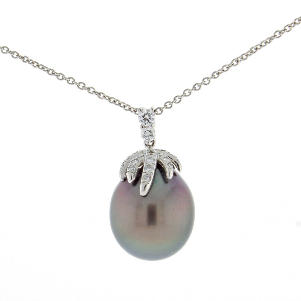 ce9a5f07e Details about Vintage Tiffany & Co Platinum Diamond Fireworks Tahitian Pearl  Necklace 18