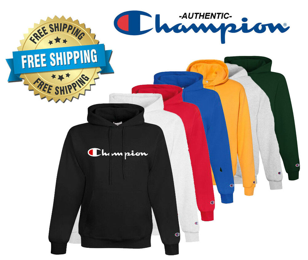 a38857728796 Details about Champion Mens Classic Script Logo ECO Hoodie---Brand  New---S-2XL