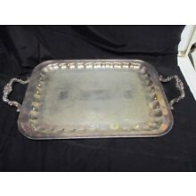 Antique Silver Plate Tray, Ornate Handles, Rectangular   16.5