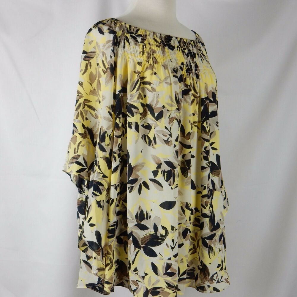 3142e0a1f062d0 Details about Alfani Womens Plus Size Blouse Top 18W Georgette Printed  Yellow Tan Black Leaves