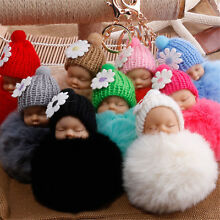 Cute Fur Fluffy PomPom Sleeping Baby Doll Key Chain Keyrings Bag Charm Pendant Y