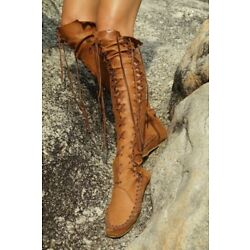 Roma Womens Leather Lace Up Over The Knee High Boots Vintage Moccasins Chic D509
