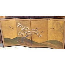 Vintage Asian Silk Screen 4 Panel Hand Painted Trees & Birds Gold Landscape