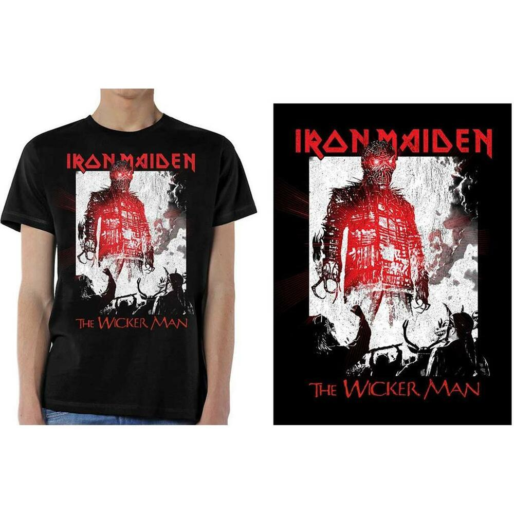 9d2b15aa Details about OFFICIAL LICENSED - IRON MAIDEN - THE WICKER MAN SMOKE T SHIRT  EDDIE METAL