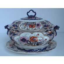 Antique English Soup Tureen With Under Plate