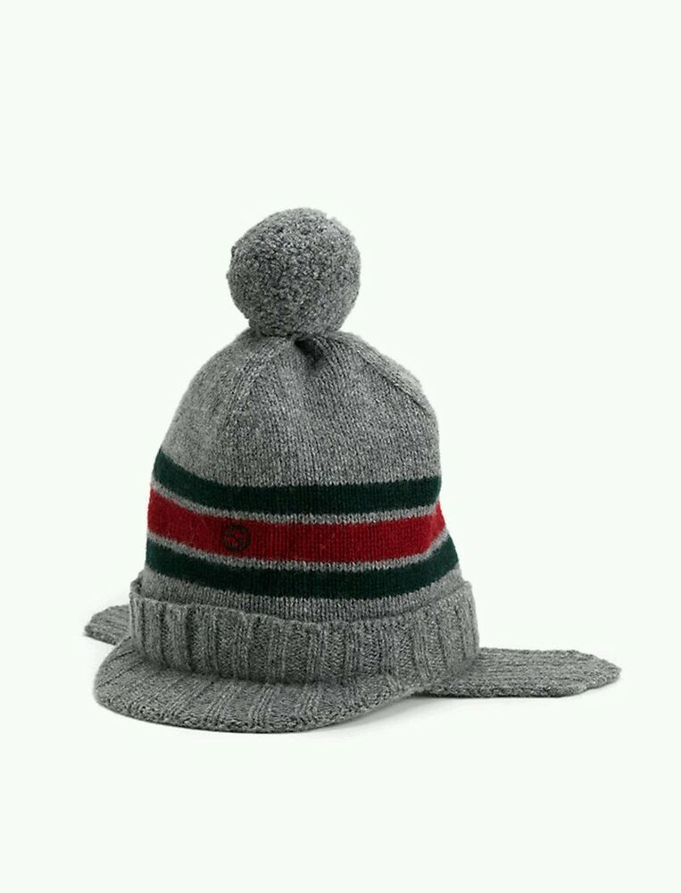 06f5a79922128 NWT NEW Gucci kids boys navy or gray wool knit hat ear flaps red web S  269511