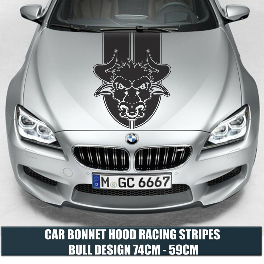 Details about car bonnet hood racing stripes bull design cars stickers funny graphics decal