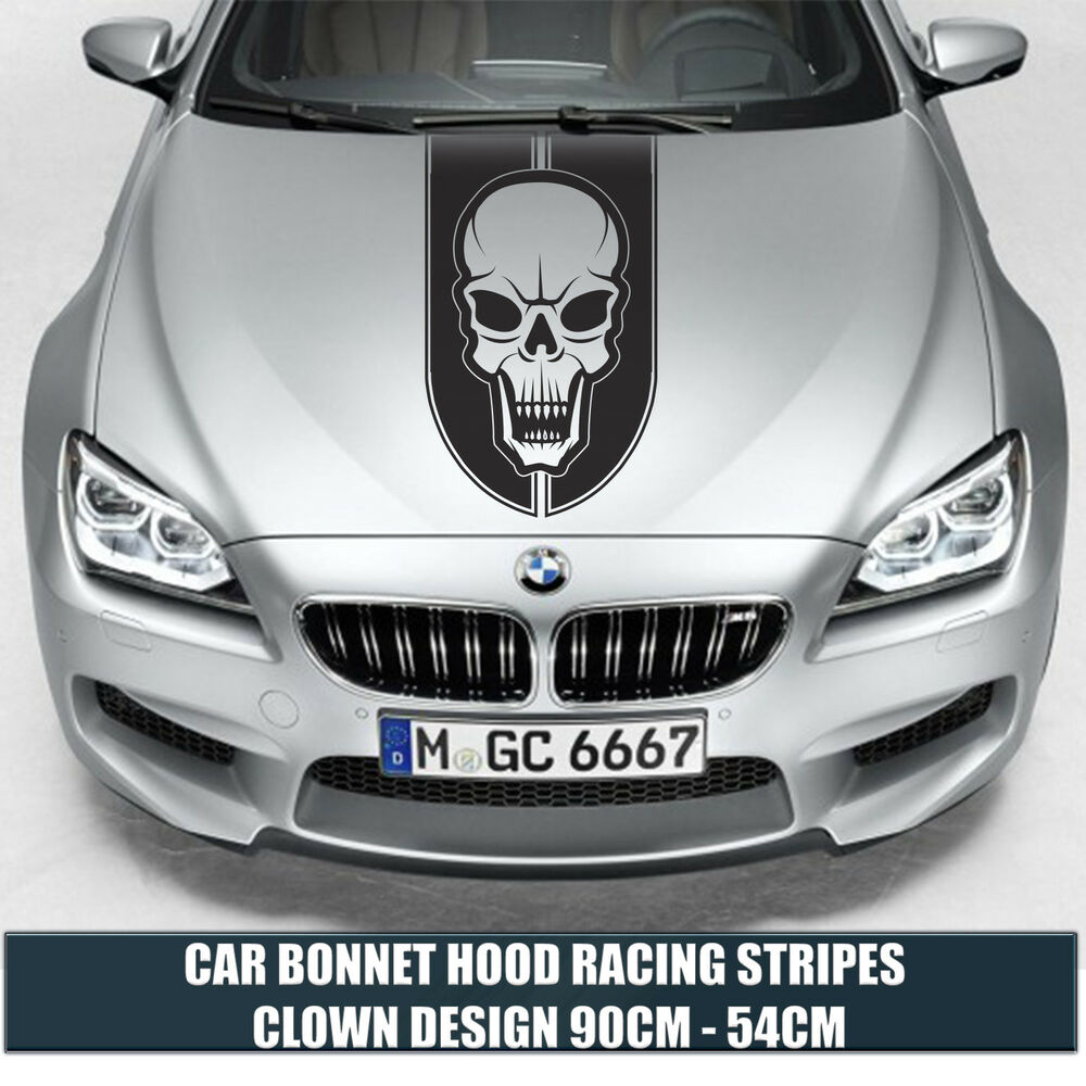 Details about car bonnet hood racing stripes skull design cars stickers funny graphics decal