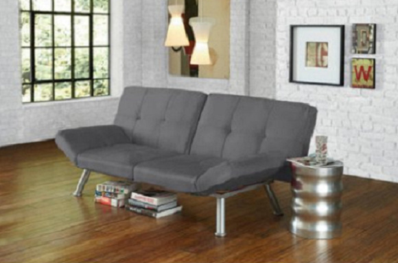 Details About Convertible Futon Couch Modern Sofa Bed Sleeper Lounger Gray Tufted Micro Suede