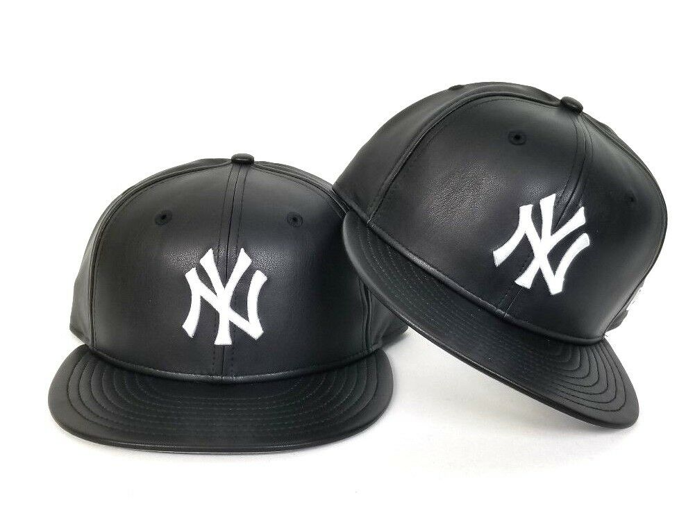 online retailer 6bd0b ba926 New Era MLB New York Yankee 59Fifty Black on White PU Faux Leather Fitted  hat