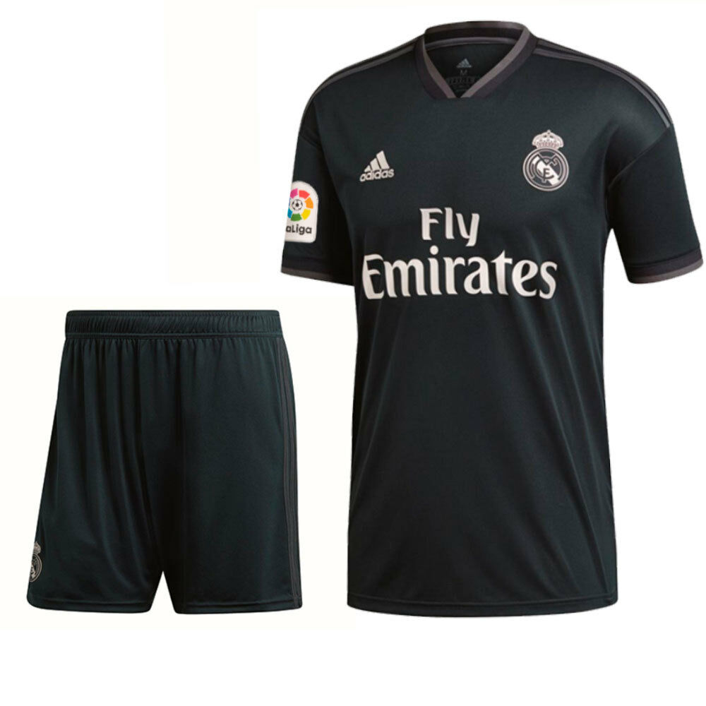 fd0236960ee Details about Adidas Football Real Madrid CF Kids Away Kit Set Shirt Jersey  Shorts 2018 2019