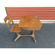 Collectible Vintage Metal And Wood School Desk