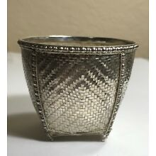 CHINESE EXPORT STERLING SILVER WOVEN BASKET 2 1/8