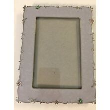 Silver Tone & Enamel Russ Picture Frame Rhinestone Accents 6