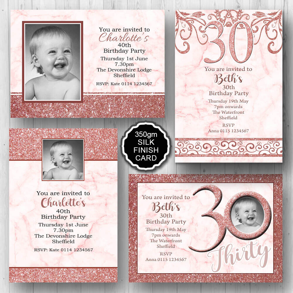 Details About 10 Personalised Birthday Party Invitations 16th 18th 21st 30th 40th 50th E456