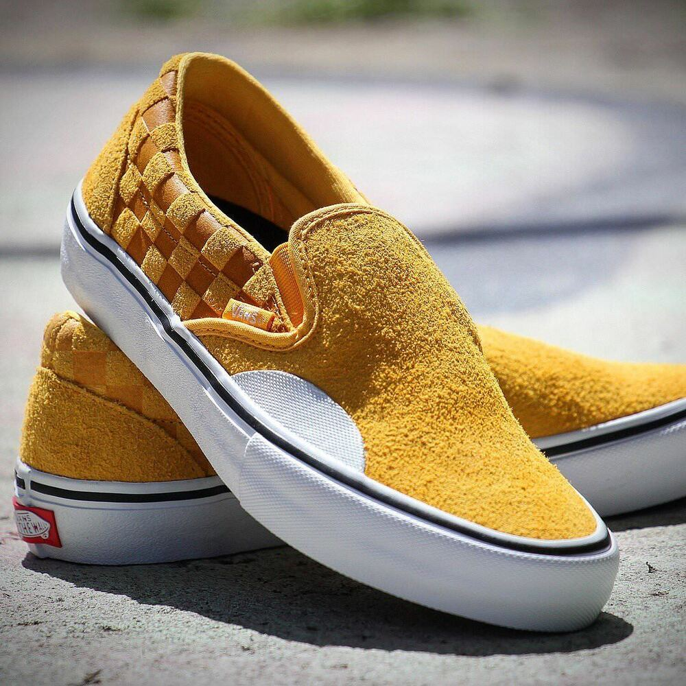 af1df588ace Details about new mens vans slip on pro hairy suede yellow banana  checkerboard jpg 1000x1000 Vans