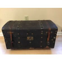 Antique Stagecoach Trunk Leather Straps Fancy Lock Handles Intact