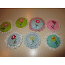 Lot of 7 Vintage Handmade Sachets - Vanity - Embroidered Flower - 3