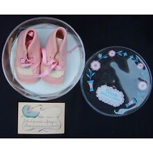 Vintage Wool Felt Baby Size 0 Pink Shoes Pink Ties 65+ yrs old gift card include