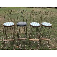 VINTAGE TWISTED METAL WIRE ICE CREAM PARLOR STOOL SODA FOUNTAIN CHAIR