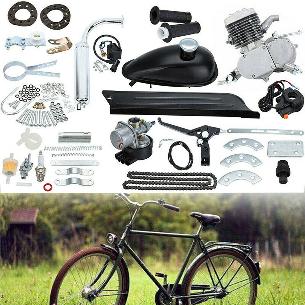 Details About Motor 2 Stroke 50cc Petrol Gas Engine Kit For Motorized Bicycle Bike Silver