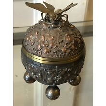 Antique Figural repousse Silver Plate Inkwell With Butterfly 1880's Rare