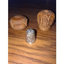English Silver Thimble With Fossilized Ivory Holder.