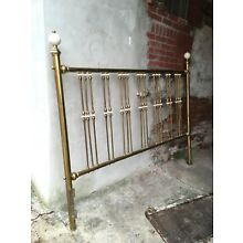 Vintage Soild Brass Queen Size Bed Headboard with Porcelain Accent
