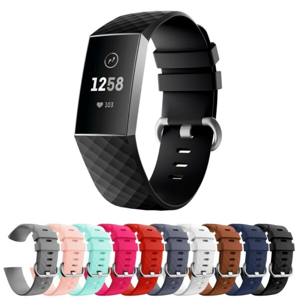 StrapsCo Silicone Rubber Watch Band Strap for Fitbit Charge 3 - Small/Large