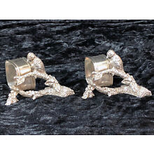 Pair Victorian Style Figural Silverplate Napkin Rings Bird on Branch