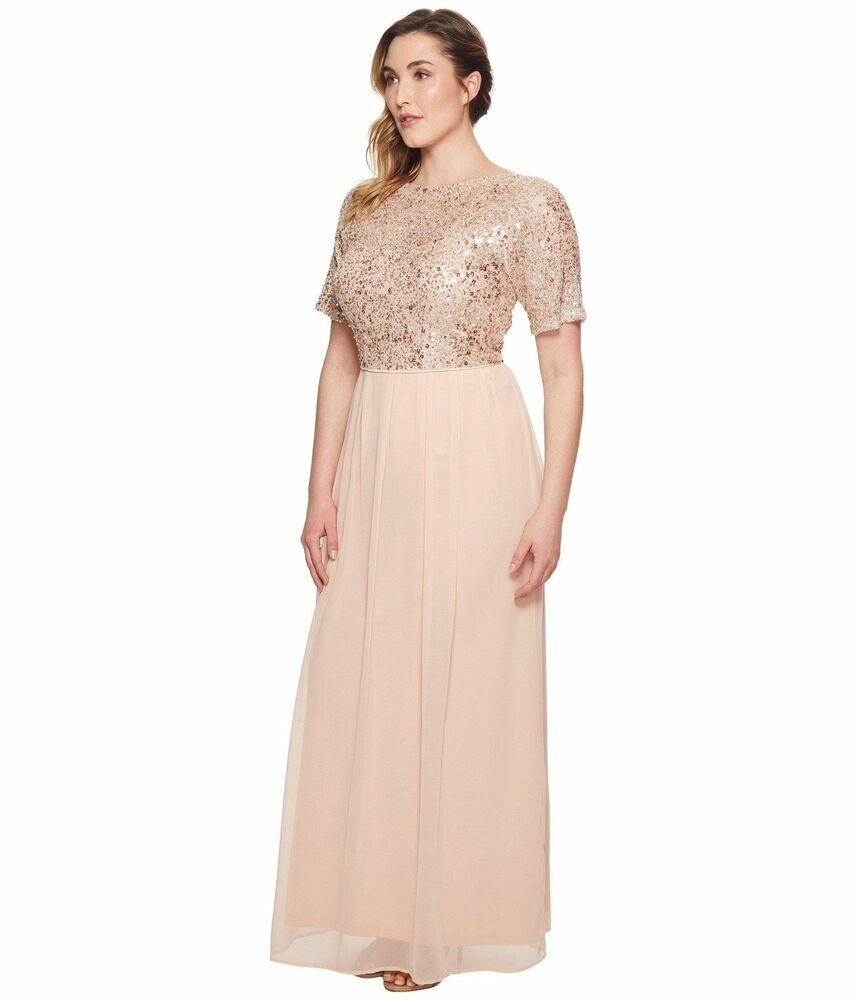 bfa60f580fe7 Details about Adrianna Papell Sequin Short Sleeve Chiffon Gown Size 20W $278