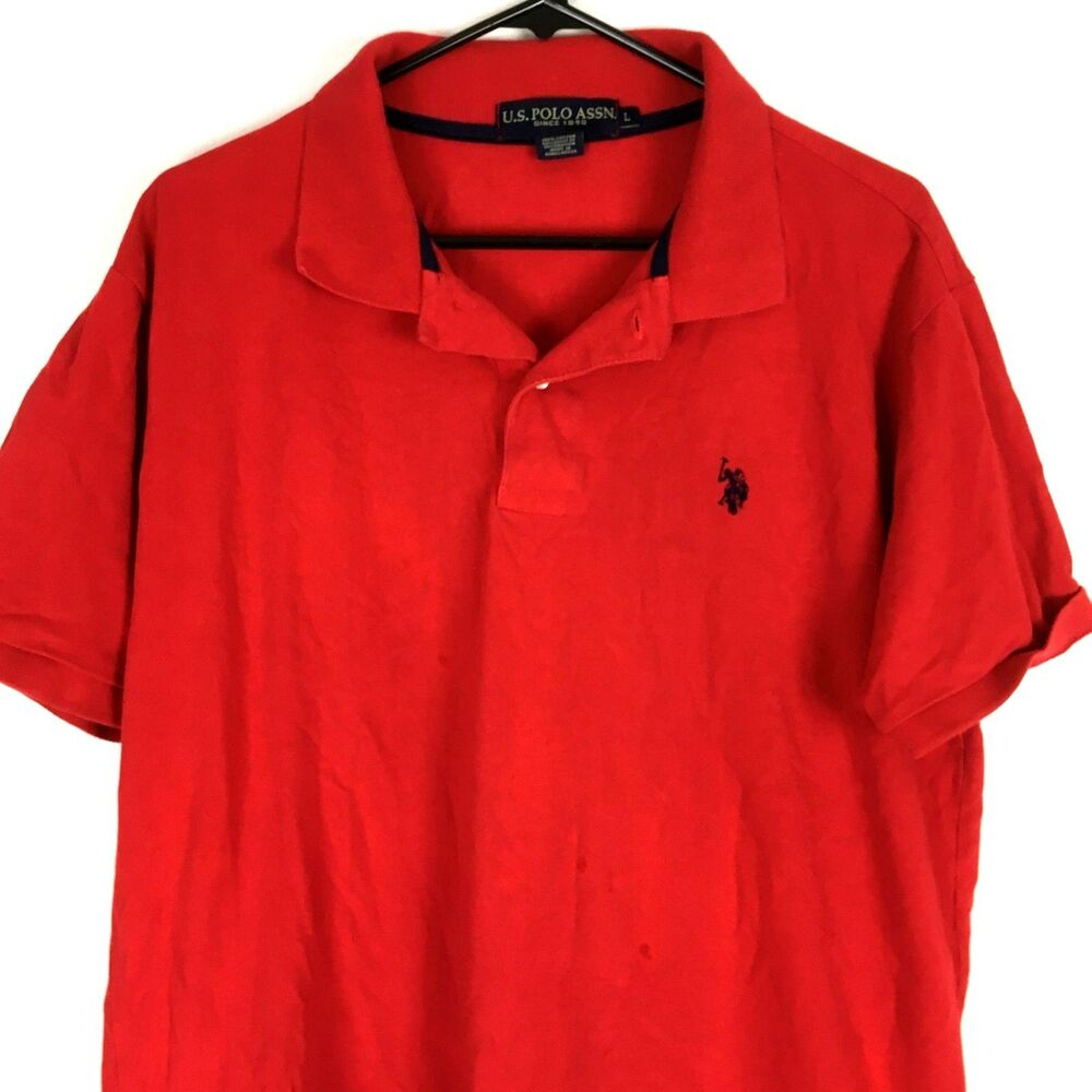 Us Polo Assn Mens Shirt Large L Red Short Sleeves Pony Logo Casual