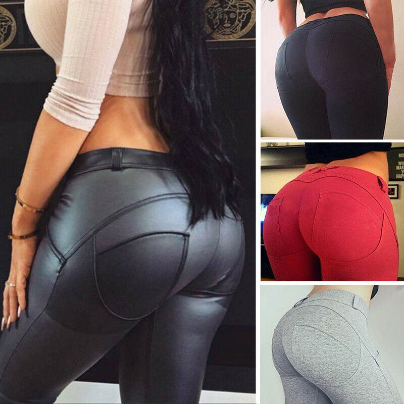 11a3e4a3db Details about Womens Sports Leggings Yoga Pants Faux Leather Shinny Running  Slim Fitness F025