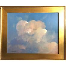 SKY impressionism White Clouds over ocean oil painting on canvas framed