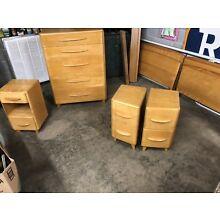 Heywood  Wakefield Pair Rio Twin Beds W/ Rails , Chest,nightstands, Champagne
